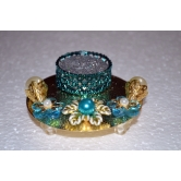 Blue And Golden Candle Holder