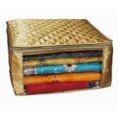 Kuber Industries Saree Cover Set Of 9 Pcs Large Size In Golden Satin Wedding Gift