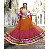 Craftsvilla Orange & Pink  Net & Viscouse Jacquard Inner Embroiderd Lehenga Choli