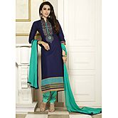 Kvsfab  Navy Blue Pure Cotton Cambric Unstitched Dress Material Kvssk4357kar