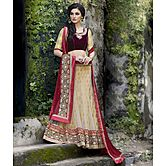 Craftsvilla Biege Net & Viscouse Jacquard Inner Embroiderd Lehenga Choli