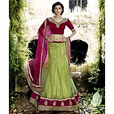 Craftsvilla Green  Net And Silk Inner Embroiderd Lehenga Choli