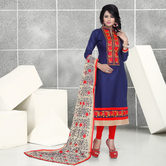 K Mart Blue Cotton Embroidered Semi-stitched Salwar Suit Dupatta Material