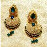 Stunning Bollywood Style Blue Stone Pearl Earrings - Rgl_bl