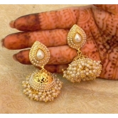 Preety White Gold Plated Wedding Bandani Jhumka Earrings