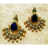 Bollywood Style Blue Stone And Pearl Earrings