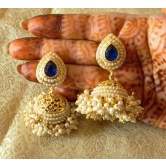 Fabulous Gold Plated Blue Wedding Bandani Jhumka Earrings
