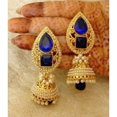 Lalso Stunning Blue Gold Plated Wedding Bandani Jhumka Earrings