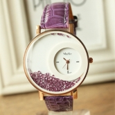 Mxre Moving Diamond Analogue Leather Strap Watch - For Women