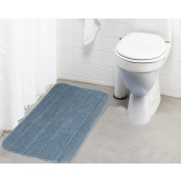 Lushomes Ultra Soft Microfiber Polyester Silver Regular Bath Mat  - Pombms1022