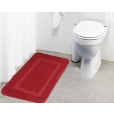 Lushomes Ultra Soft Microfiber Polyester Red Regular Bath Mat  - Pombms1006