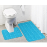 Lushomes Ultra Soft Microfiber Polyester Turquoise Large Bath Mat Set - Pombmrc1001