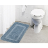 Lushomes Ultra Soft Microfiber Polyester Silver Regular Bath Mat  - Pombms1021