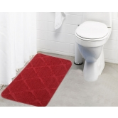 Lushomes Ultra Soft Microfiber Polyester Red Regular Bath Mat  - Pombms1010