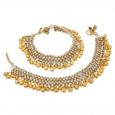 Craftsvilla Designer White And Golden Ghungroo Anklets Ak-5017