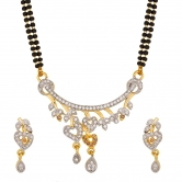 Designer Heart Pattern American Diamond Studded Mangalsutra Ms-1286