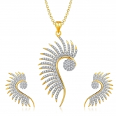 Designer Cz Peacock Pendant Set Without Chain For Women