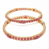 Golden And Pink Stone Bangles