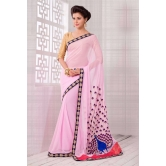 11473 : Pic Pink Georgette With Golden Blouse Saree