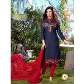 2101 : Gorgeous Navy Blue Embroidery Party Wear Suit