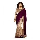 Fancy Look Stitched Saree By Mk13-maroon And Chiku Velvet