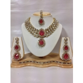 Three Chain Kundan Jewelry Set In Romantic Pink Color