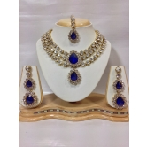 Three Chain Royal Blue Stone Encrusted Necklace Set