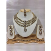 Famous Kundan Jewelry Set In White
