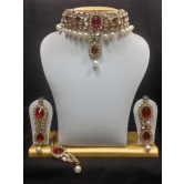Close Neck Style Kundan Jewelry In Dark Red And Pearls