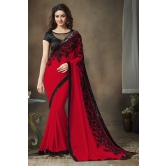 Maroon And Black Color Georgette Saree By Monjolika Fashion