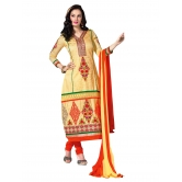 3 Piece Dress Material With Machine Embroidery In Yellow Red Combination. 8567