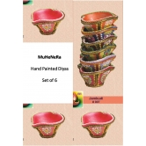 Hand Painted Diyas. Earthen Ware. Set Of 6 Jamkudi.rp7 . A Muhenera Collection