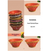 Hand Painted Diyas. Earthen Ware. Set Of 6 Gol Bandhini.rp 22 A Muhenera Collection