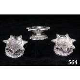 Set Of 3 Diya In Silver Coated Metal. Muhenera Presents Athish Collection 564