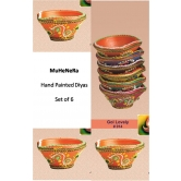 Hand Painted Diyas. Earthen Ware. Set Of 6 Gol Lovely.rp14 . A Muhenera Collection