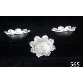 Lotus Shaped Diyas In Silver Coated Metal. Muhenera Presents Athish Collection 565