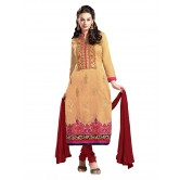 3 Piece Dress Material With Machine Embroidery In Beige Maroon Combination. 8566