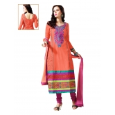 3 Piece Dress Material With Machine Embroidery In Orange. 8564