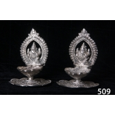 Pair Of Ganesh Silver Coated Metal Lamps.  Muhenera  Presents Athish Collection - 509