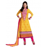 3 Piece Dress Material With Machine Embroidery In Yellow And Pink Combination. 8563