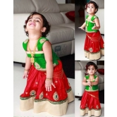 Kids Children Clothing Lehenga Cholis Green And Red Color Dhupian  Fabric Hand Work Buy Online Shopping Marriage Engagement Reception Occasion All Season