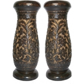 Onlineshoppee Wooden Antique Flower Vase With Hand Carved Design (brown, Pack Of 2) 13 Inch