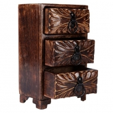 Onlineshoppee Wooden Box With 3 Drawers Size(lxbxh-6x4x10) Inch
