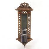 Wooden Hand Carved Wall Hanging Miror Reflection Candle Holder Size(lxbxh-7x1x20) Inch   Afr1131