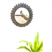 Onlineshoppee Beautiful Design Mirror With Wooden Frame Size (lxbxh-16x1x16) Inch   Afr1185
