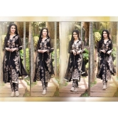 Designer Black Semi Stitched Straight Suit