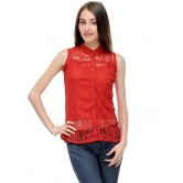 Net Red Top With Front Button By Purple Oyster