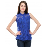 Blue Net Top With Front Button By Purple Oyster