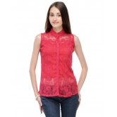 Net Plum Pink Top With Front Button By Purple Oyster