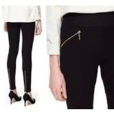 Zara Style: Elasticated Waist Zip Stretch Full Length Leggings Trousers- Anisha